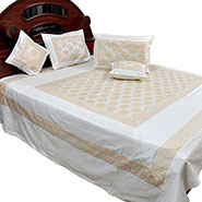 Little India Double Bedcover with 2 Cushion Covers & 2 Pillow Covers - White