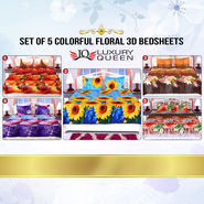 Set of 5 Colorful Floral Double Bedsheets (5BS11)
