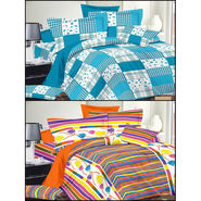 Set of 2 Double Bedsheet with 4 Pillow Covers-MO-184_196