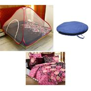 Storyathome Double Bed Foldable Mosquito Net With Cotton Double Bedsheet -MOS_101-CN1421