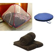 Storyathome Double Bed foldable Mosquito Net With 2 Pc Hand Towel -MOS_101-TW1208-M