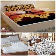 Storyathome Combo Of 100% Cotton 1pc Double Bedsheet, 1pc  3D Bed Sheet And 1pc Mattress Protector -MP_1206-PC1404-MPR1402