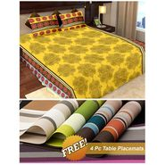 Storyathome Yellow Floral 1 Double Bedsheet With 2 Pillow Cover -MT1239_TT