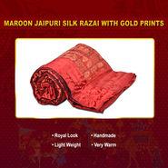 Maroon Jaipuri Silk Razai with Gold Prints