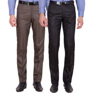 Tiger Grid Pack Of 2 Cotton Formal Trouser For Men_Md010