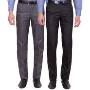Tiger Grid Pack Of 2 Cotton Formal Trouser For Men_Md012