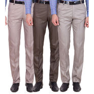 Tiger Grid Pack Of 3 Cotton Formal Trouser For Men_Md049