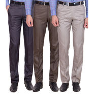 Tiger Grid Pack Of 3 Cotton Formal Trouser For Men_Md050