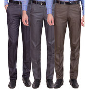 Tiger Grid Pack Of 3 Cotton Formal Trouser For Men_Md052
