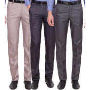 Tiger Grid Pack Of 3 Cotton Formal Trouser For Men_Md055