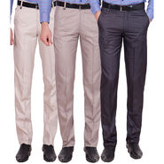 Tiger Grid Pack Of 3 Cotton Formal Trouser For Men_Md057