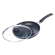OK Non Stick Grill Pan with Glass Lid-GP1 - Black