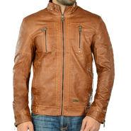 Branded Regular Fit Leather Jacket_Os19 - Light Brown