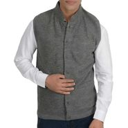 Branded Slim Fit Cotton Waist Coat_Os32 - Grey Plain