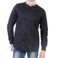 Branded Slim Fit Cotton Shirt_Os38 - Black