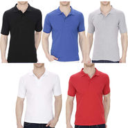 Pack of 5 Oh Fish Plain Polo Neck Tshirts_P5grywhtblublkred