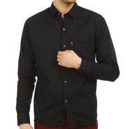 Fizzaro Plain 100% Cotton Casual Shirt_Plcs01 - Black