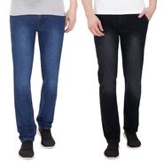 Pack of 2 Pelican Slim Fit Stretchable Jeans For Men_Pjblkble - Black & Blue