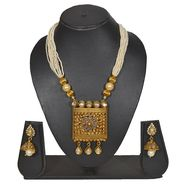 Pourni Stylish Brass Necklace Set_PRNK128 - Golden