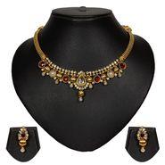 Pourni Stylish Brass Necklace Set_Prnk37 - Golden