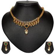 Pourni Stylish Brass Necklace Set_Prnk38 - Golden