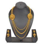 Pourni Stylish Brass Necklace Set_Prnk85 - Golden