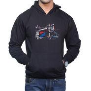 Effit Printed Regular Fit Full Sleeves Cotton Hoddies for Men - Black_PTLHODY0026