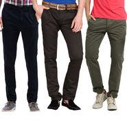 Pack of 3 Good Karma Slim Fit Cotton Lycra Chinos