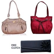 Combo of Leather Handbags With Free Clutch Pofh04 - Red & Black