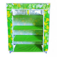 Shopper52 Portable Folding 4 To 5 Layer Tier Shoe Rack With Wardrobe Cover -  Green