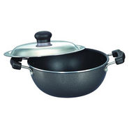 Prestige Non Stick Omega Select Plus Flat Base Kadai 270 mm with SS Lid