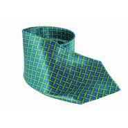 Carress Geometrical Satin Ties For Men - Royal Green & Yellow