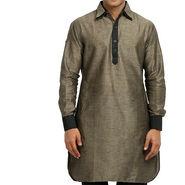 Runako Regular Fit Printed Party Wear Pathani Kurta For Men_RK4096 - Grey