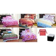 Bellamata Multicolor Print 5 Double Bedsheet With 10 Pillow Covers + Free 1 storage Bag & 1 Folding stool cum storage bag-RMC18