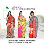 Radhika Pack of 3 Printed Georgette Sarees (7G27B)