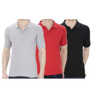 Pack of 3 Oh Fish Plain Polo Neck Tshirts_P3gryblkred