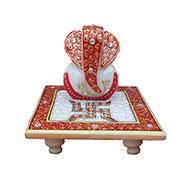 eCraftIndia Ridhi Sidhi with Swastik on Marble chowki - Red