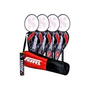 Silver's Pack Of 4 PRO-170 Badminton With Covers + Pack Of Shuttlecock + Kitbag - Multicolor