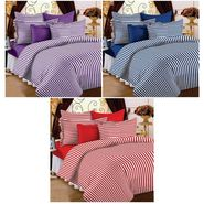 Set of 3 Cotton Single Bedsheet With 3 Pillow Cover-SP_1203_1204_1205