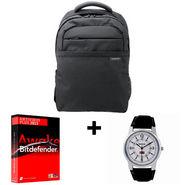 Combo of Samsung Bagpack + Reebok Men's Watch + Bitdefender Anti Virus