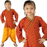 Little India Sanganeri Floral Design Ethnic Dhoti Angarkha - DLI3KED201B