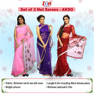Set of 3 Net Sarees - AKSO