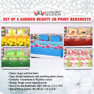 Set of 5 Garden Beauty 3D Print Bedsheets (5BS7)