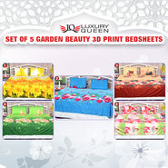 Set Of 5 Garden Beauty 3D Print Bedsheets (5BS7)