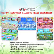 Set of 5 Nature's Glory 3D Print Bedsheets (5BS8)