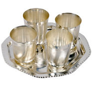 Silver Polished 4 Brass Glass with Tray Set 332