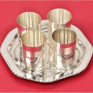 Silver Polished Designer 4 Glass Set with Tray 331