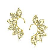 Spargz Leaf Design Earrings Cuff - Golden _AIER427