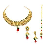 Spargz Drop Designer Necklace Set - Multicolour _ AINS080