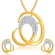 Sukkhi Fascinating Gold & Rhodium Plated Pendant Set - White & Golden - 4065PSCZL1200
